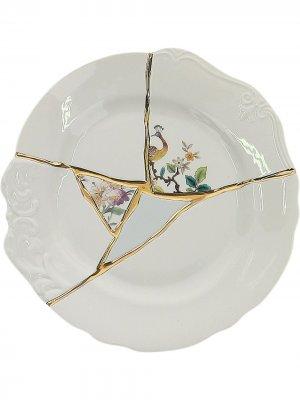 Тарелка с принтом Seletti. Цвет: белый