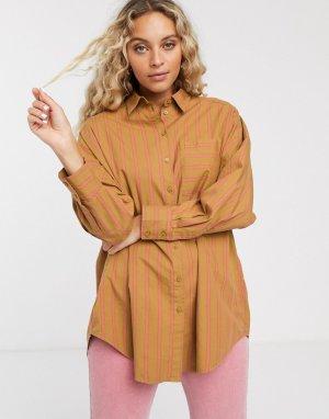 Бежевая oversize-блузка в полоску -Бежевый Monki