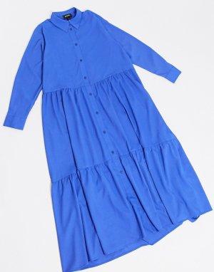Ярко-синее платье-рубашка А-силуэта -Синий Monki