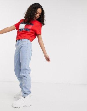 Красная футболка с большим логотипом в виде флага -Красный Tommy Jeans