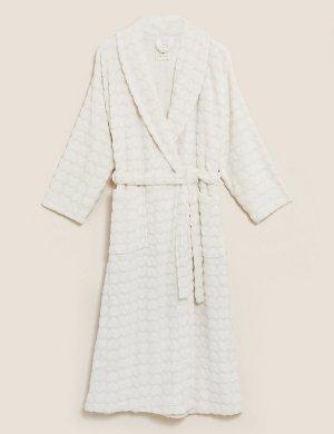 Длинный флисовый халат с текстурой Сердца M&S Collection. Цвет: овес