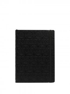Блокнот в жесткой обложке с тиснением Gancini Salvatore Ferragamo. Цвет: черный