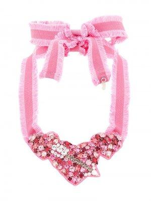 Ожерелье с кристаллами RedValentino. Цвет: розовый