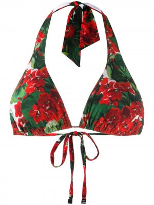 Лиф бикини с цветочным принтом Dolce & Gabbana. Цвет: красный
