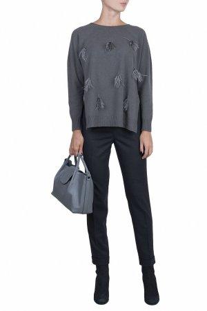 Серый шерстяной пуловер с перьями Fabiana Filippi