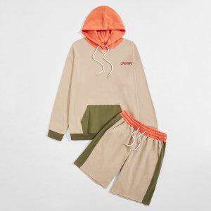Мужская контрастная толстовка и спортивные шорты SHEIN. Цвет: хаки