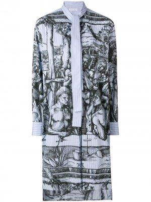 Платье в полоску с принтом картин Дюрера JW Anderson. Цвет: синий