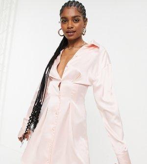 Нежно-розовое атласное платье-рубашка мини с декоративными швами ASOS DESIGN-Розовый цвет Tall