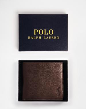 Коричневый кожаный бумажник -Коричневый цвет Polo Ralph Lauren