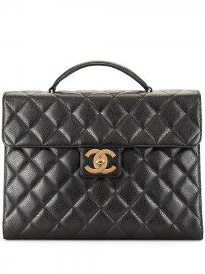 Стеганый портфель Chanel Pre-Owned. Цвет: черный