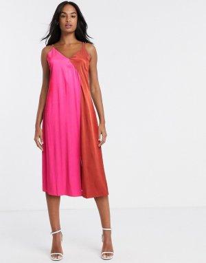 Розово-красное атласное платье-комбинация -Розовый Gestuz