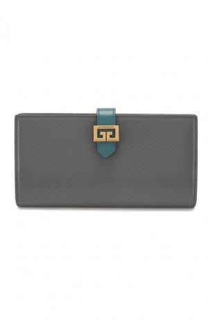 Кожаный кошелек GV3 Givenchy. Цвет: серый