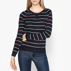 Пуловер с круглым вырезом из тонкого трикотажа MAISON SCOTCH. Цвет: темно-синий