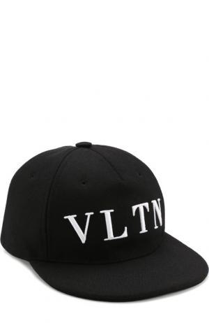 Шерстяная кепка VLTN Valentino. Цвет: чёрный
