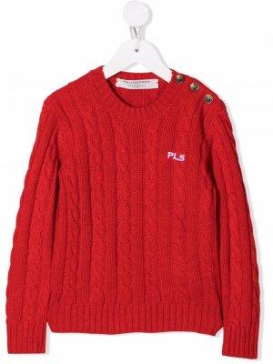 Джемпер фактурной вязки с вышивкой Philosophy Di Lorenzo Serafini Kids. Цвет: красный