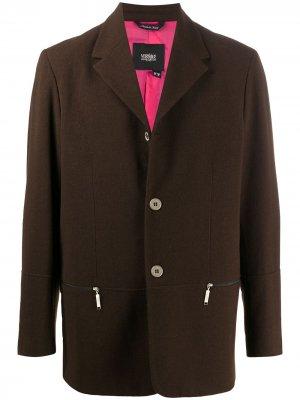 Однобортный пиджак 2000-х годов Versace Pre-Owned. Цвет: коричневый