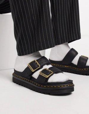 Черные сандалии с двумя ремешками -Черный Dr Martens