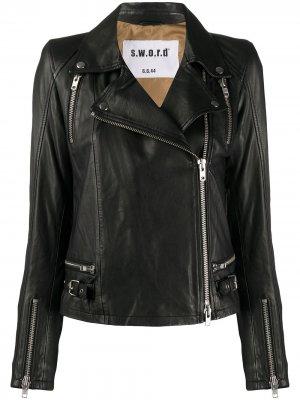 Байкерская куртка на молнии S.W.O.R.D 6.6.44. Цвет: черный