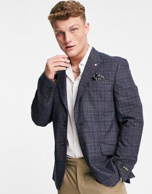 Серый пиджак классического кроя в клетку «принц уэльский» Burton Menswear