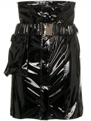 Мини-юбка с высокой талией и виниловым эффектом Faith Connexion. Цвет: черный