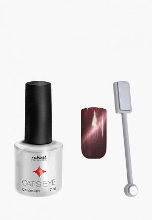 Набор для ухода за ногтями Runail Professional магнит и Гель-лак Cat's eye серебристый блик, цвет: Бенгальская кошка. Цвет: коричневый
