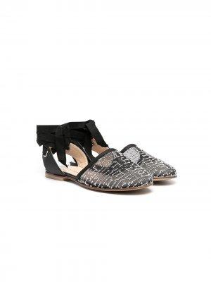 Декорированные сандалии Ermanno Scervino Junior. Цвет: черный