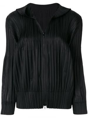 Плиссированная куртка-бомбер Pleats Please By Issey Miyake. Цвет: черный