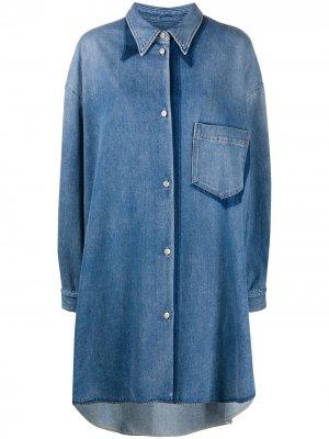 Джинсовое платье-рубашка MM6 Maison Margiela. Цвет: синий