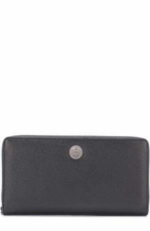 Кожаное портмоне на молнии с отделениями для кредитных карт и монет Dolce & Gabbana. Цвет: чёрный