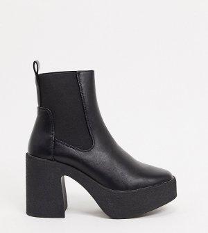Черные ботильоны челси на каблуке и массивной подошве для широкой стопы -Черный Truffle Collection