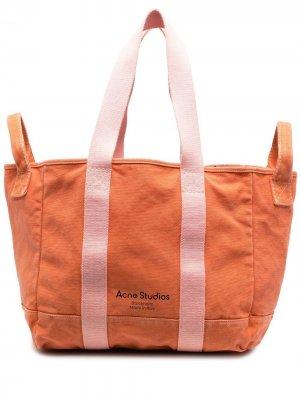 Двухцветная сумка-тоут Acne Studios. Цвет: оранжевый