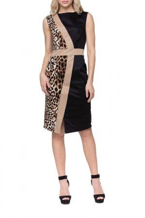 Платье Adzhedo. Цвет: коричневый, лео, черный