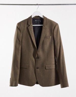 Бежевый приталенный пиджак с добавлением шерсти и узором в елочку wedding ASOS DESIGN