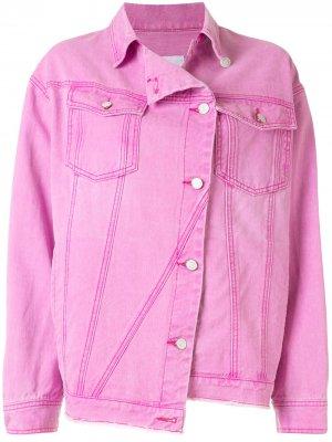 Джинсовая куртка асимметричного кроя SJYP. Цвет: розовый