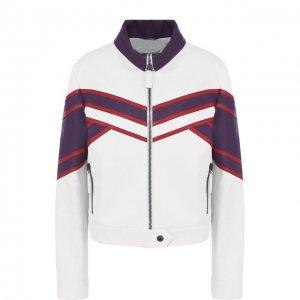 Кожаная куртка с контрастной отделкой и воротником-стойкой Bottega Veneta. Цвет: белый