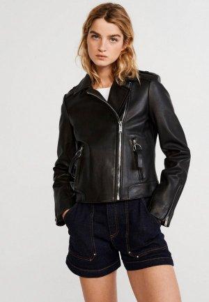 Куртка кожаная Claudie Pierlot. Цвет: черный