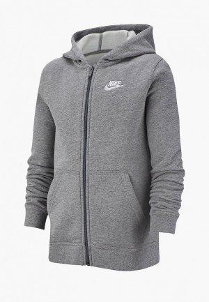 Толстовка Nike SPORTSWEAR BIG KIDS (BOYS) FULL-ZIP HOODIE. Цвет: серый