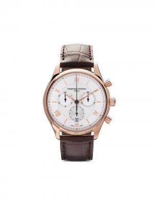 Наручные часы Classic Quartz Chronograph 40 мм Frédérique Constant. Цвет: серебристый, guilloché decoration