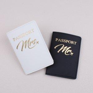 2шт Чехол для паспорта с текстовым принтом SHEIN. Цвет: черный и белый