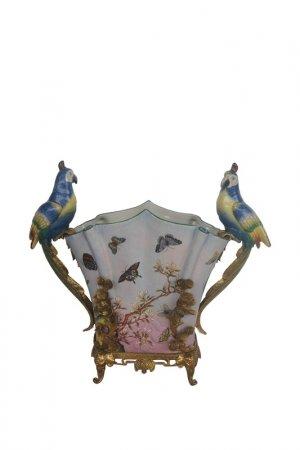 Ваза с птицами 49x19x44см ГЛАСАР. Цвет: голубой
