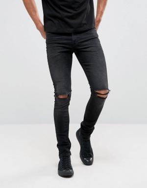 Черные джинсы скинни плотностью 12,5 унций с рваной отделкой ASOS DESIGN. Цвет: черный