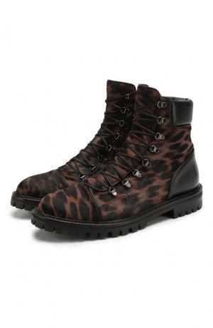 Кожаные ботинки Alaia. Цвет: леопардовый