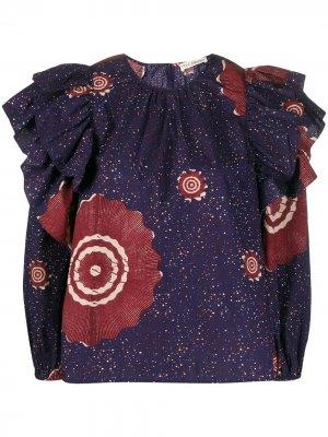 Блузка оверсайз с длинными рукавами и оборками Ulla Johnson. Цвет: синий
