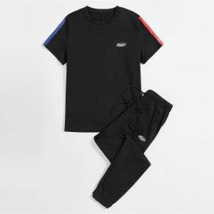 Мужской с текстовым принтом Футболка & Спортивные брюки SHEIN. Цвет: чёрный