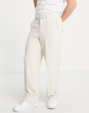 Классические брюки цвета экрю из мягкого крепа с широкими штанинами -Светло-бежевый ASOS DESIGN