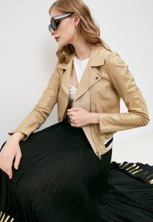 Куртка кожаная Patrizia Pepe. Цвет: золотой
