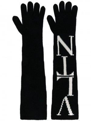 Перчатки Garavani с контрастным логотипом Valentino. Цвет: черный