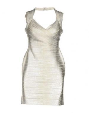 Короткое платье HERVÉ LÉGER. Цвет: серебристый