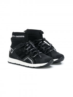 Слипоны на шнуровке с носочной вставкой Dolce & Gabbana Kids. Цвет: черный