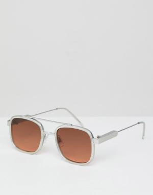 Квадратные солнцезащитные очки с коричневыми стеклами в прозрачной оправе Spitfire. Цвет: очистить